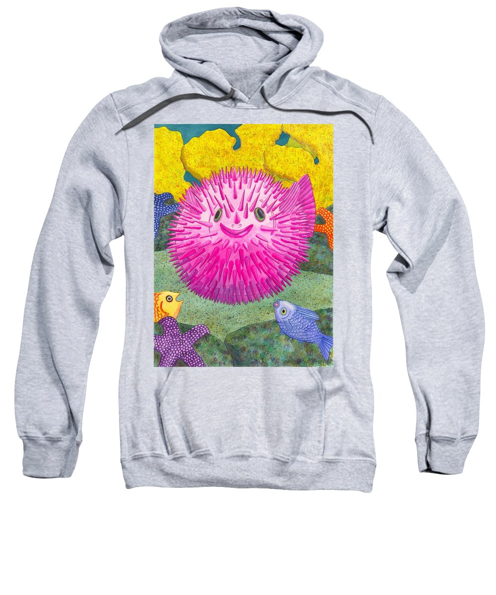 Puffer Fish Sweatshirt featuring the painting Where's Pinkfish by Catherine G McElroy