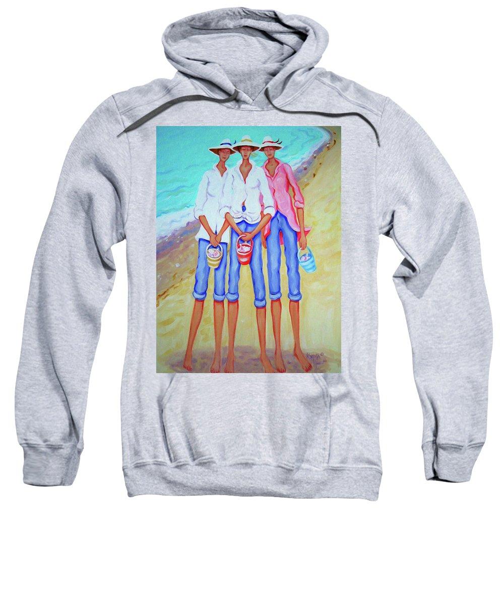 Whimsical Beach Women Sweatshirt featuring the painting Whimsical Beach Women - The Treasure Hunters by Rebecca Korpita