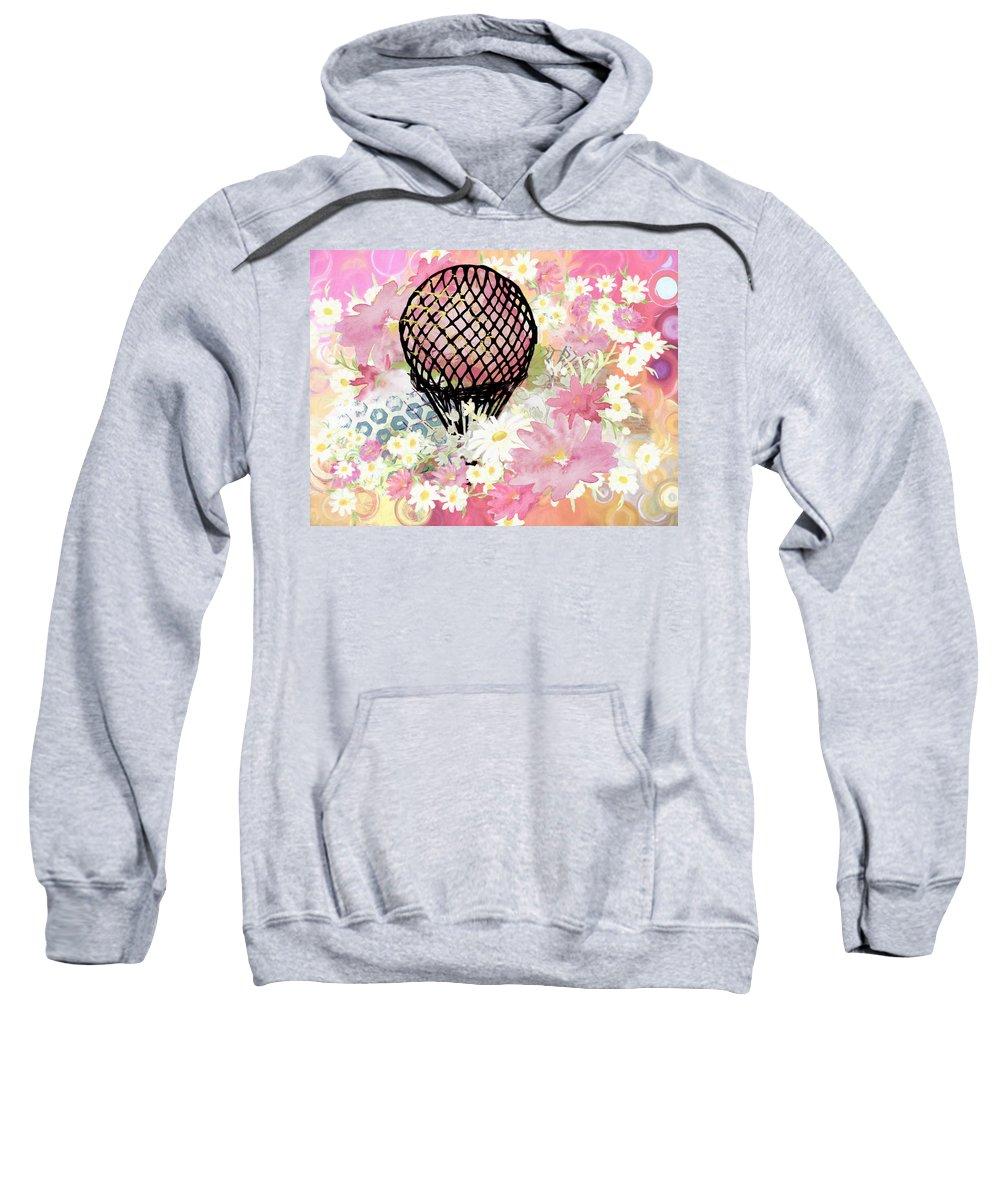 Whimsical Musing High In The Air Sweatshirt featuring the painting Whimsical Musing High In The Air Pink by Georgiana Romanovna