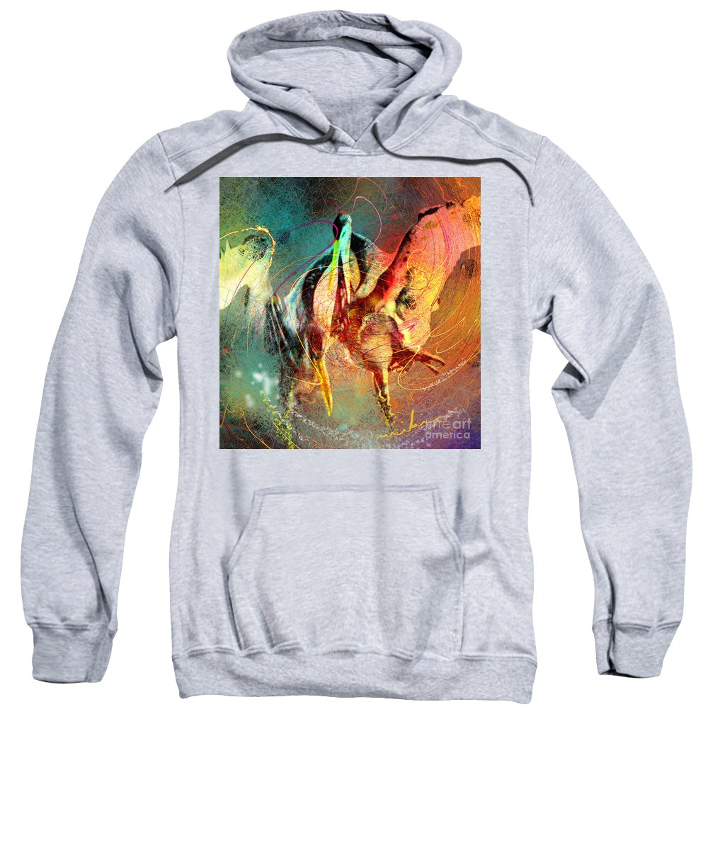 Miki Sweatshirt featuring the painting Whirled In Digital Rainbow by Miki De Goodaboom