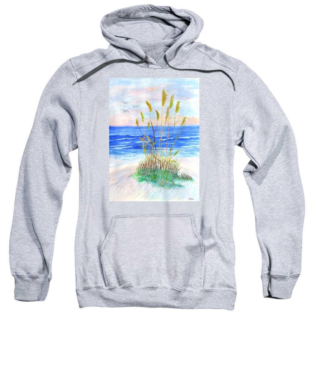 Sea Oats Sweatshirt featuring the painting Whispering Sea Oats by Ben Kiger