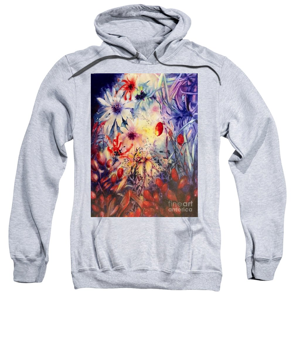 Florals Sweatshirt featuring the painting Soul Whisperings by Laurel Adams