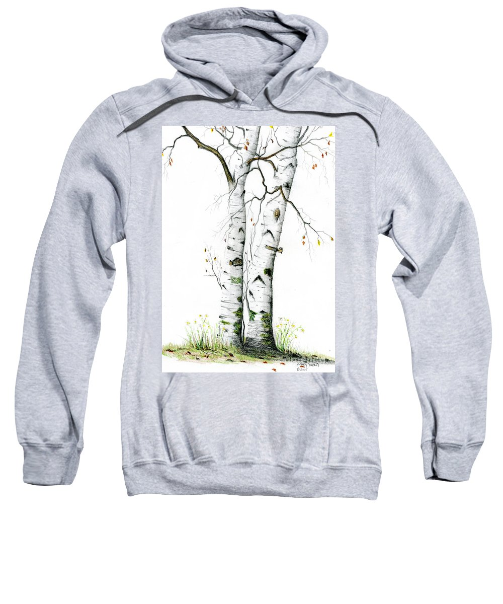 White Birch Sweatshirt featuring the painting White Birch by Mary Tuomi