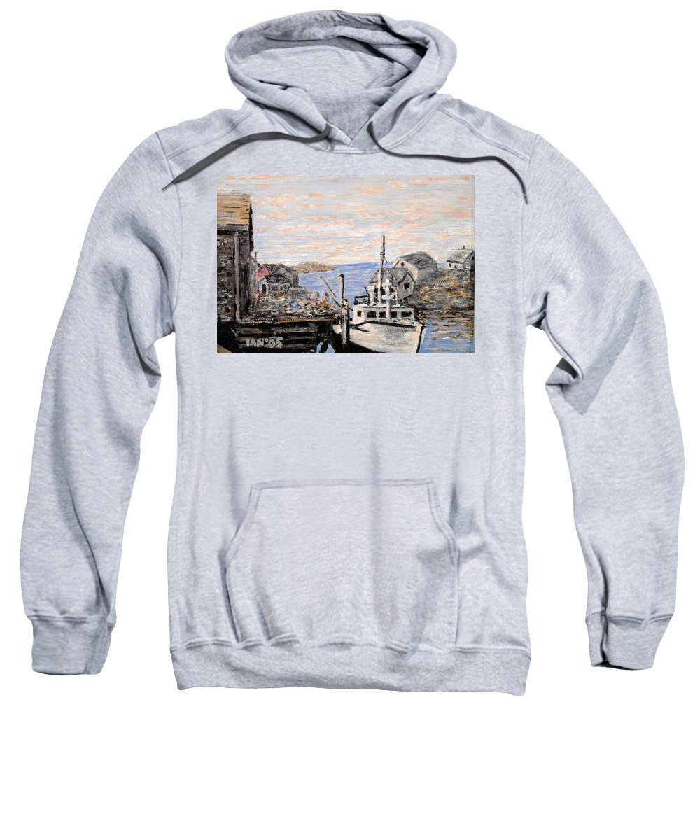 White Sweatshirt featuring the painting White Boat In Peggys Cove Nova Scotia by Ian MacDonald