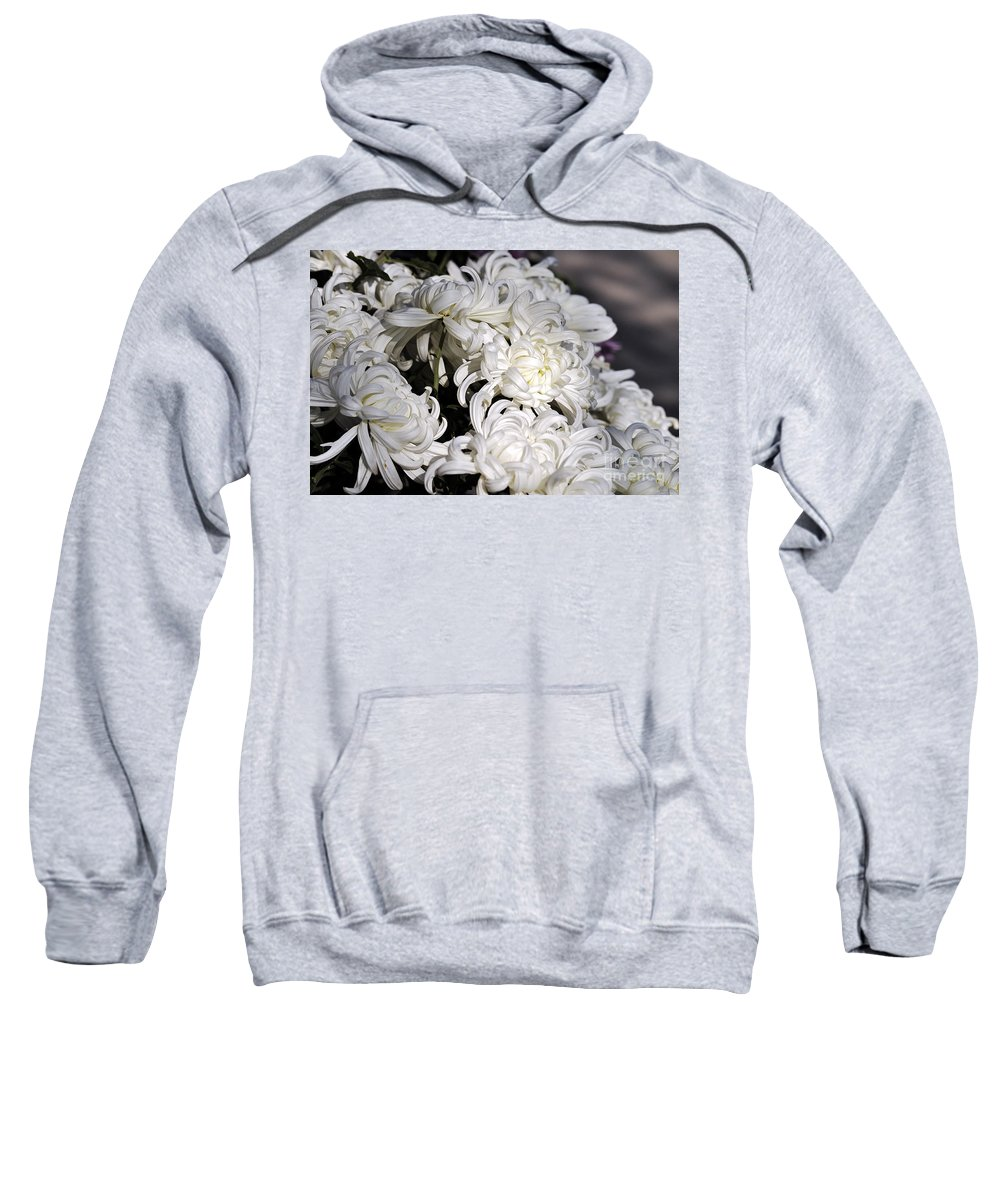 Clay Sweatshirt featuring the photograph White Chrysanthemum by Clayton Bruster