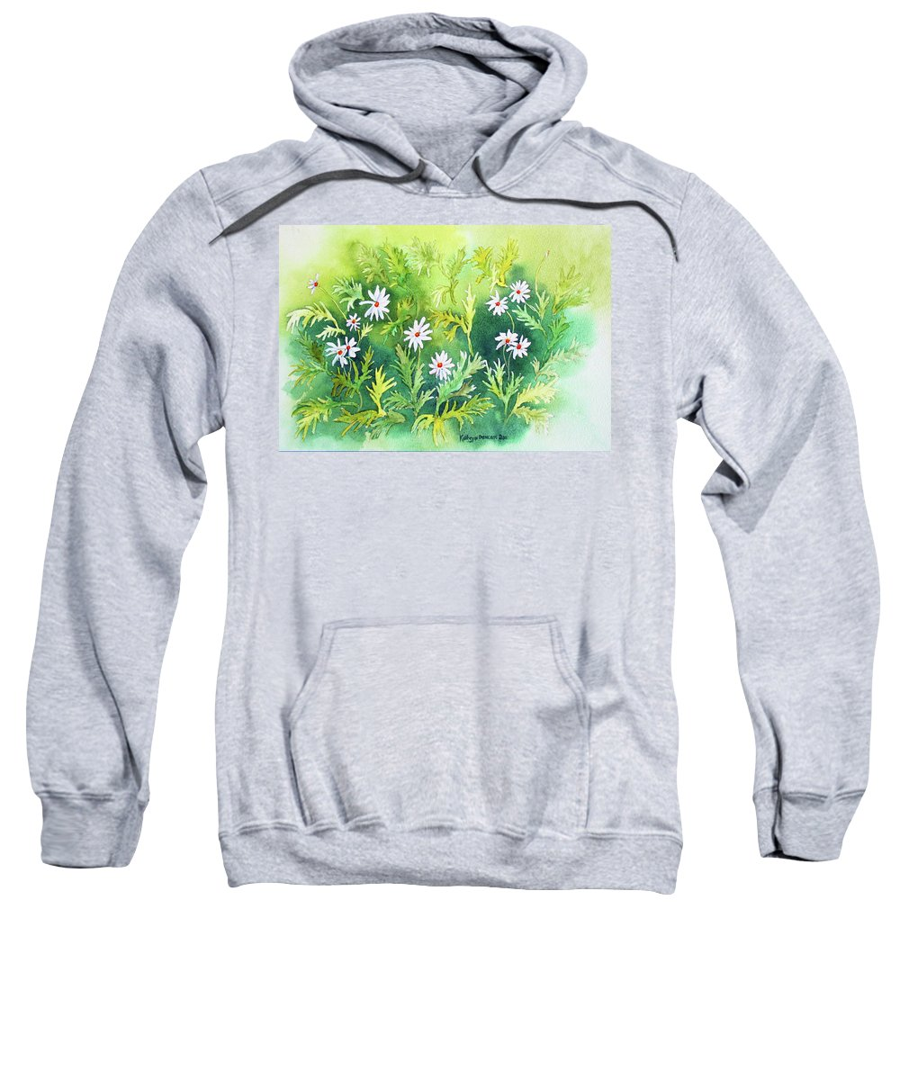 Daisy Sweatshirt featuring the painting White Daisys by Kathryn Duncan