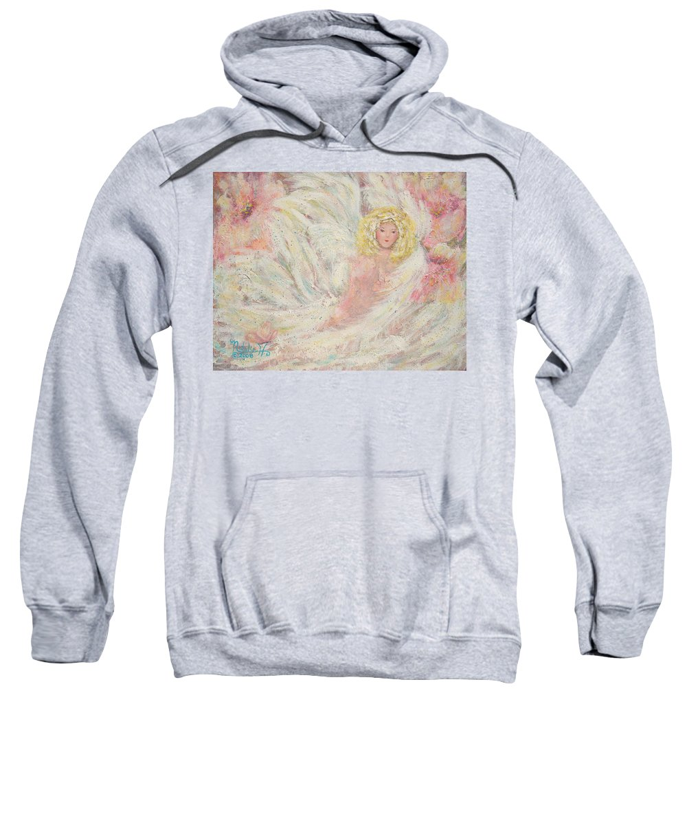 Angel Sweatshirt featuring the painting White Feathers Secret Garden Angel 4 by Natalie Holland