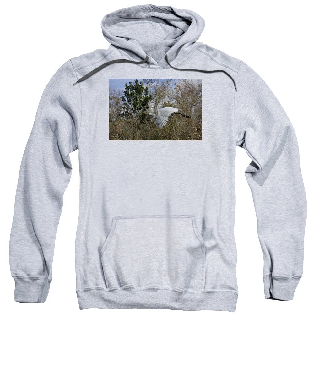 White Sweatshirt featuring the photograph White Heron In Flight by Diana Haronis