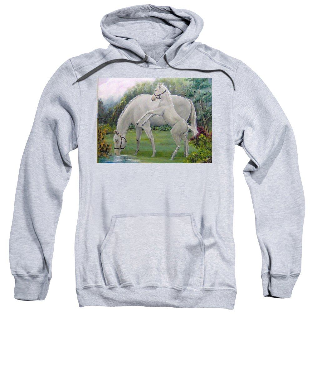 Animals Sweatshirt featuring the painting White Horses by Faye Tracy