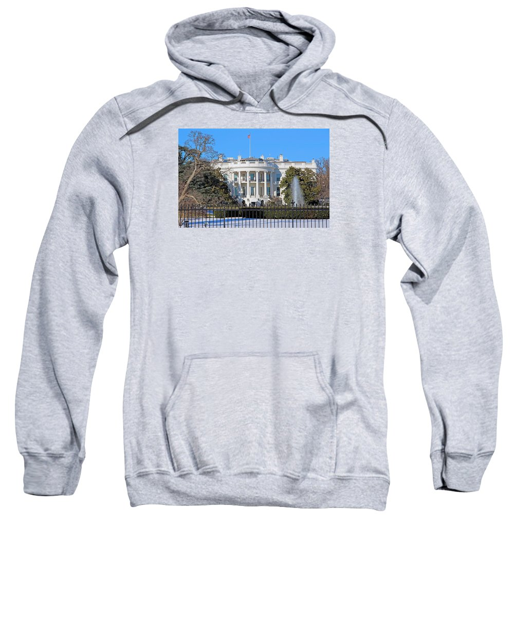 White Sweatshirt featuring the photograph White House South Lawn With Snow by Cora Wandel
