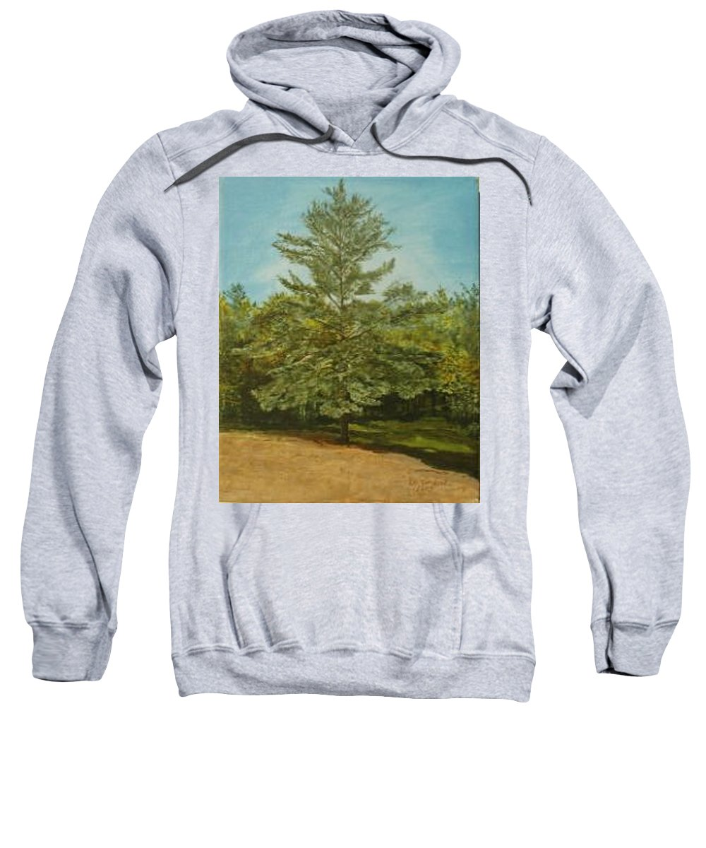 Pine Tree Sweatshirt featuring the painting White Lake by Leah Tomaino