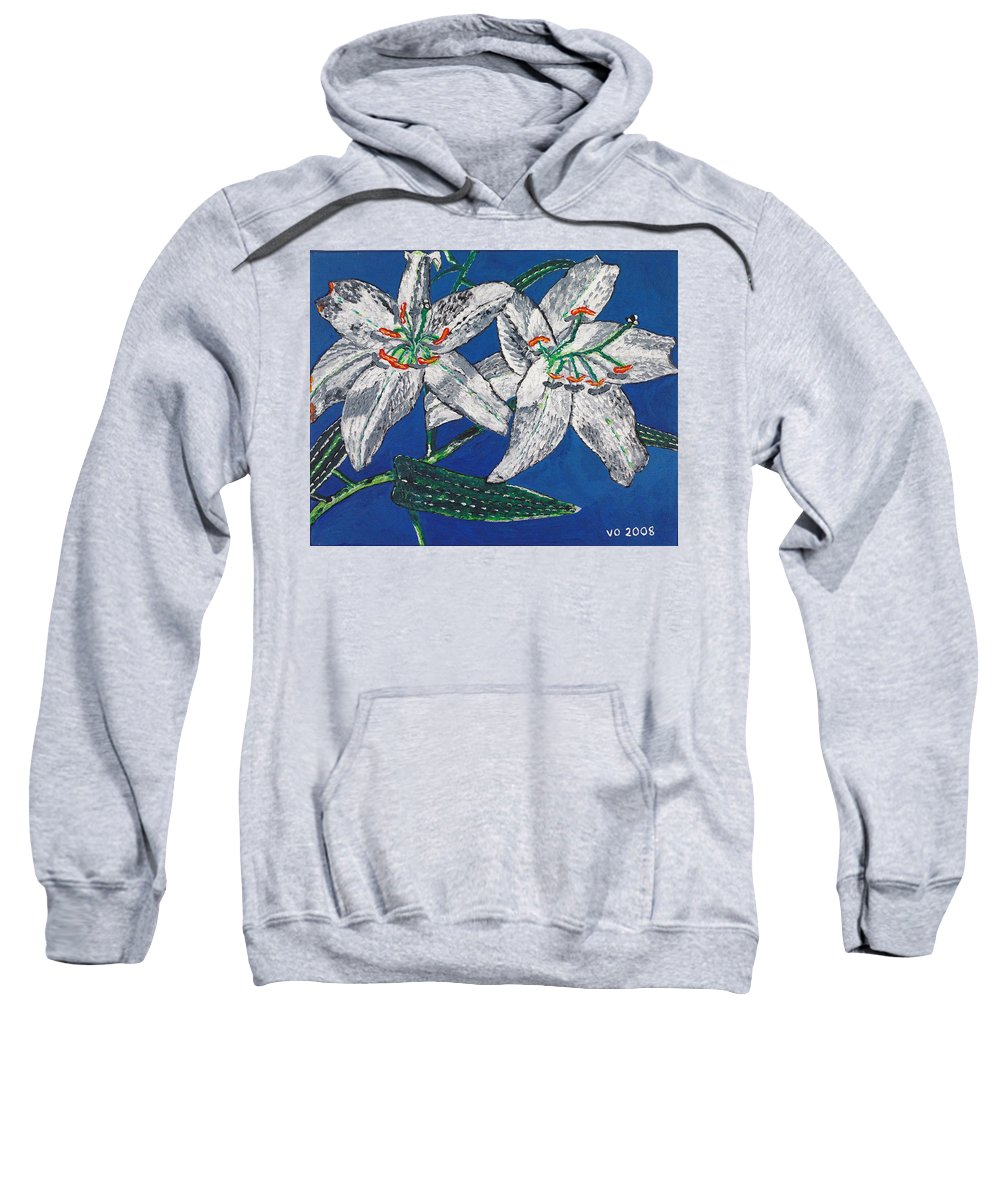 Flower Sweatshirt featuring the painting White Lilies by Valerie Ornstein