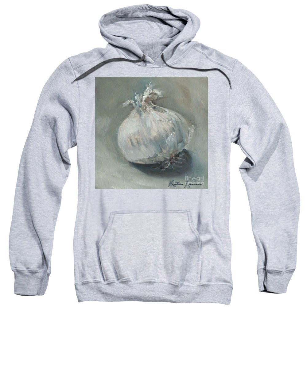Onion Sweatshirt featuring the painting White Onion No. 1 by Kristine Kainer