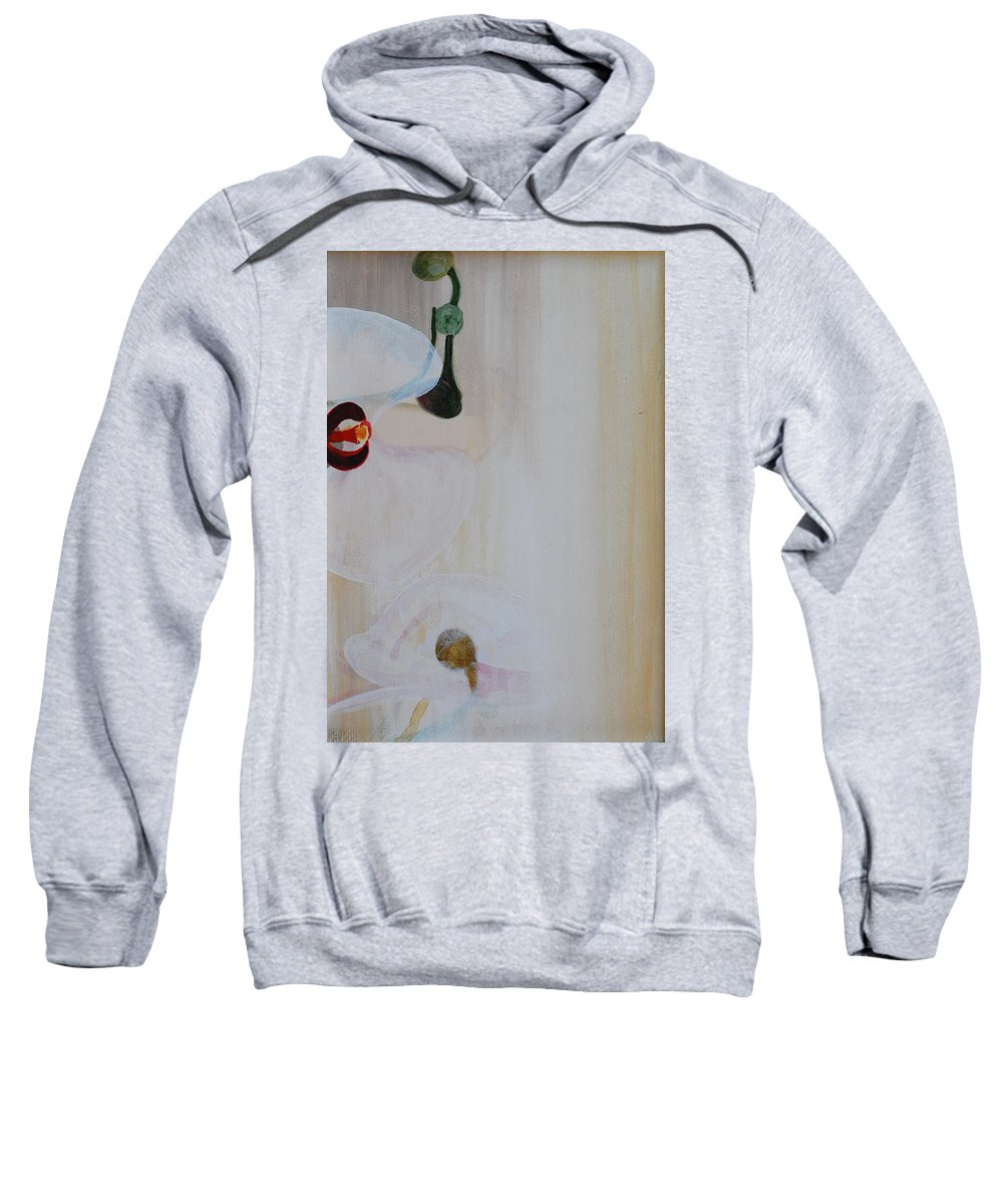Orchid Sweatshirt featuring the painting White Orchid Light Background Third Section by Catt Kyriacou