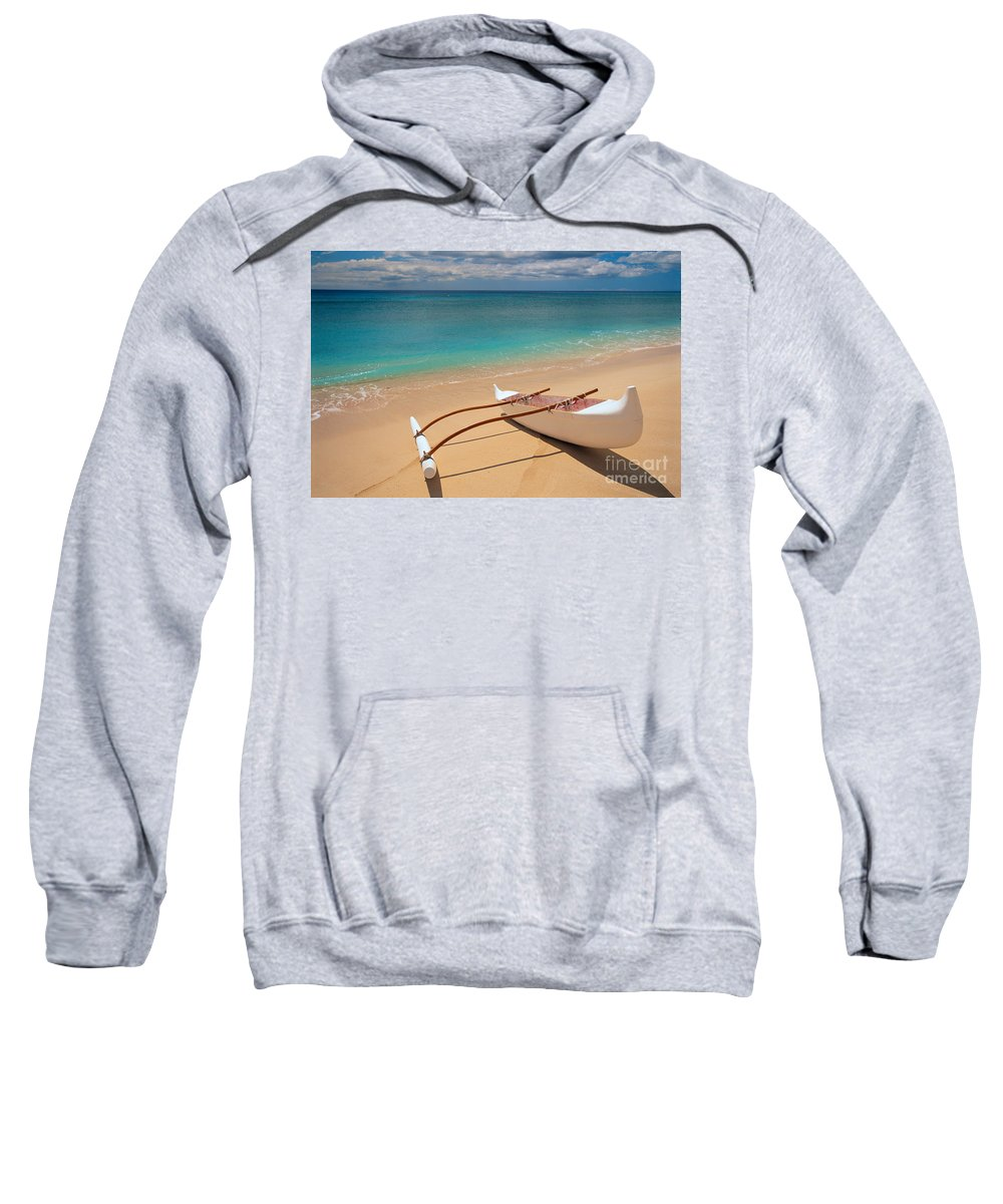 Afternoon Sweatshirt featuring the photograph White Outrigger Canoe by Dana Edmunds - Printscapes