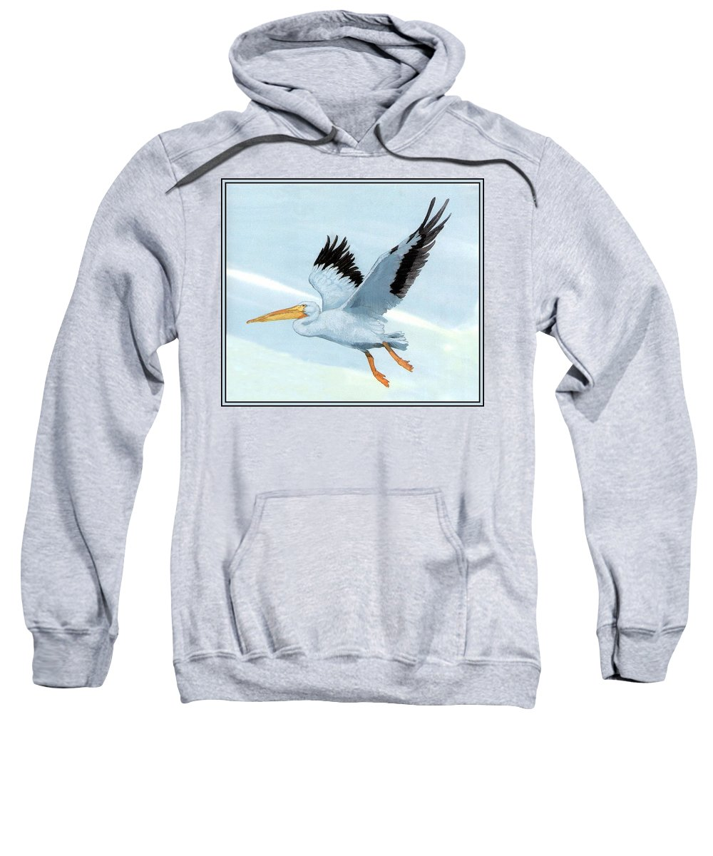 Gull Sweatshirt featuring the digital art White Pelican 1 Roger Bansemer by Eloisa Mannion