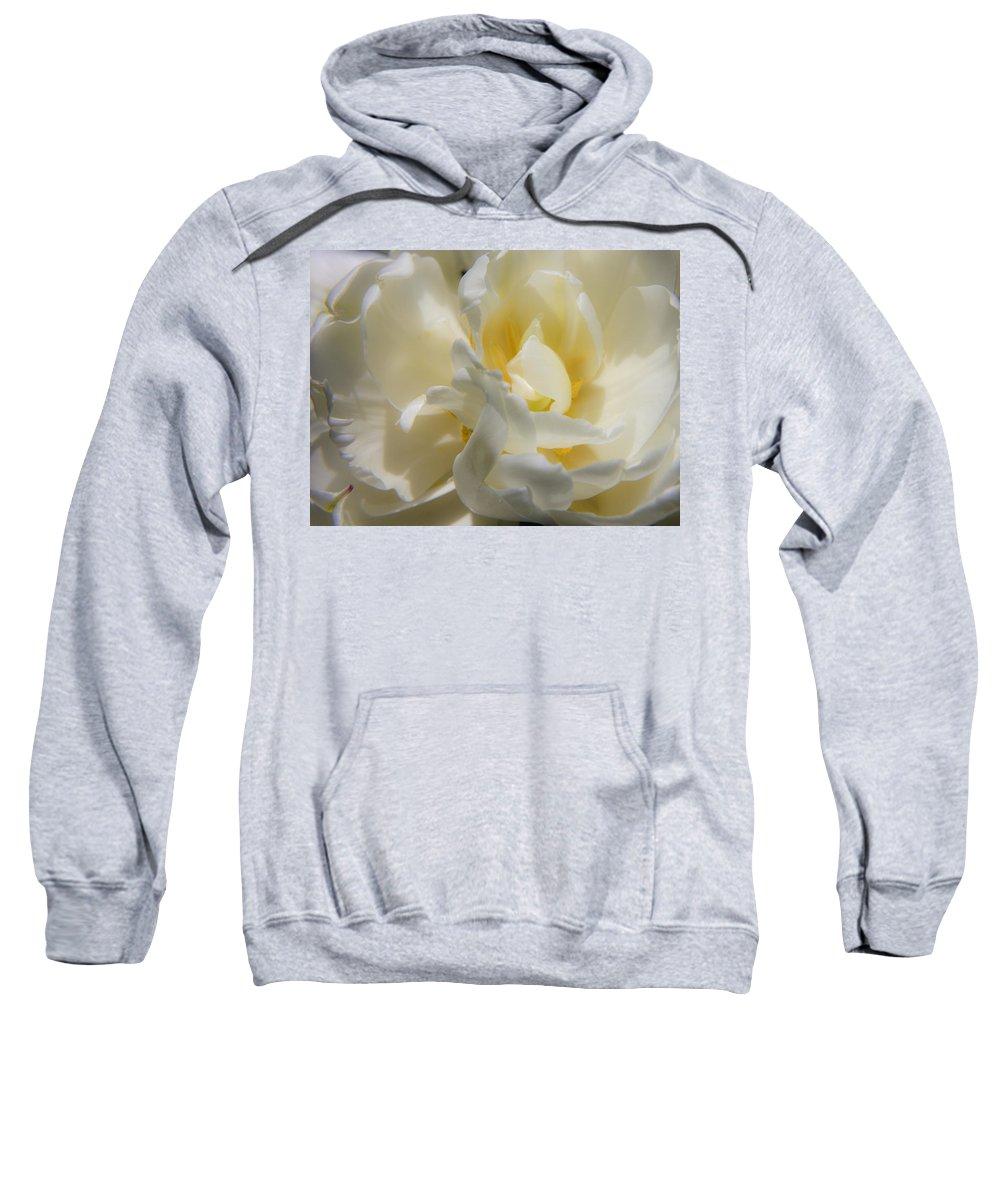 White Sweatshirt featuring the photograph White Peony Tulip Detail by Teresa Mucha