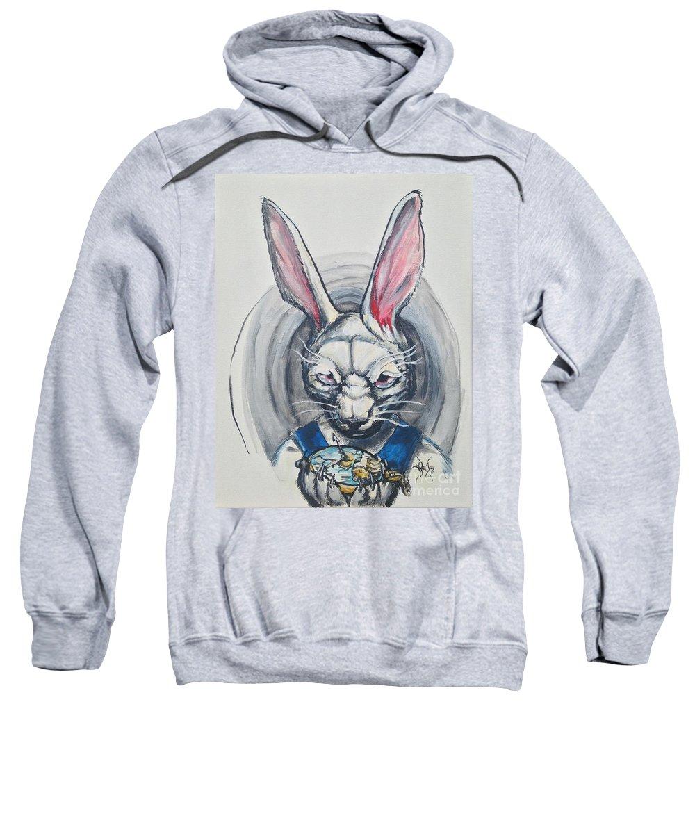White Rabbit Sweatshirt featuring the painting White Rabbit by Tyler Haddox