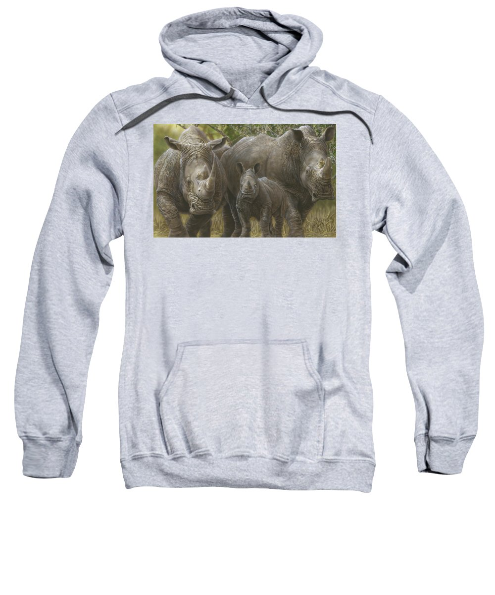 Sweatshirt featuring the painting White Rhino Family - The Face That Only A Mother Could Love by Wayne Pruse