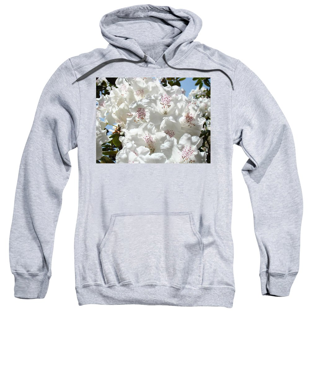 Rhodies Sweatshirt featuring the photograph White Rhododendrons Flowers Art Prints Baslee Troutman by Baslee Troutman