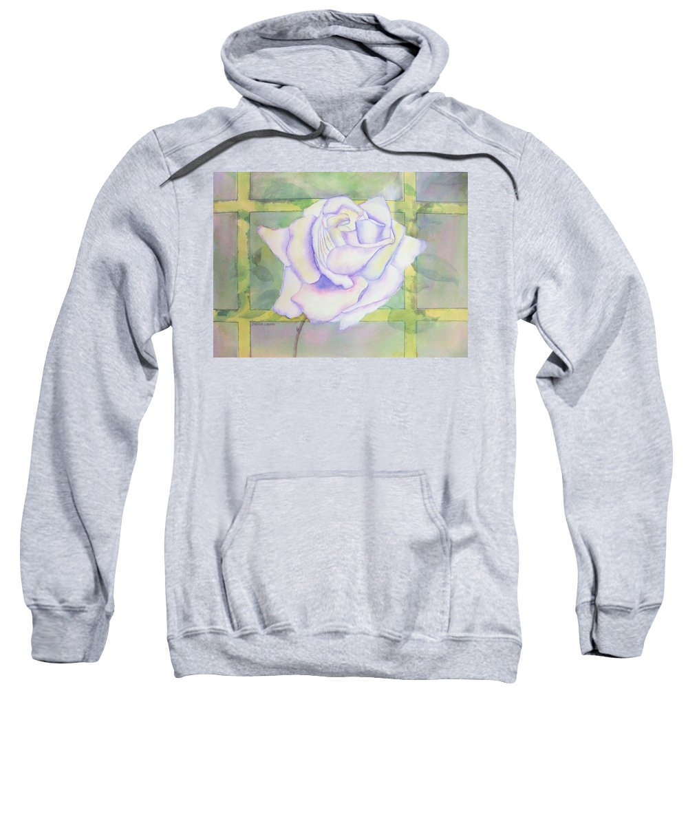 Watercolor Sweatshirt featuring the painting White Rose by Debbie Lewis
