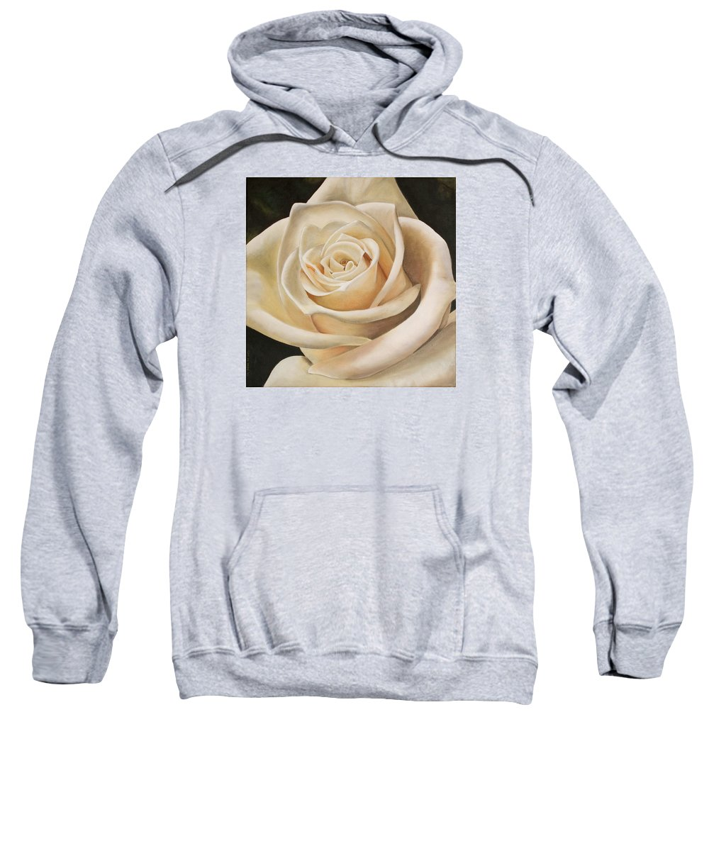 Flower Sweatshirt featuring the painting White Rose by Rob De Vries