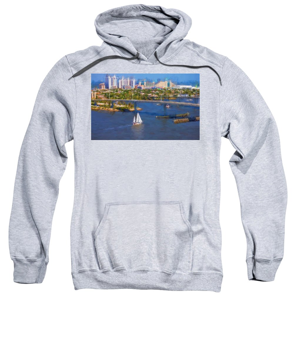 Alicegipsonphotographs Sweatshirt featuring the photograph White Sailboat On The Water by Alice Gipson