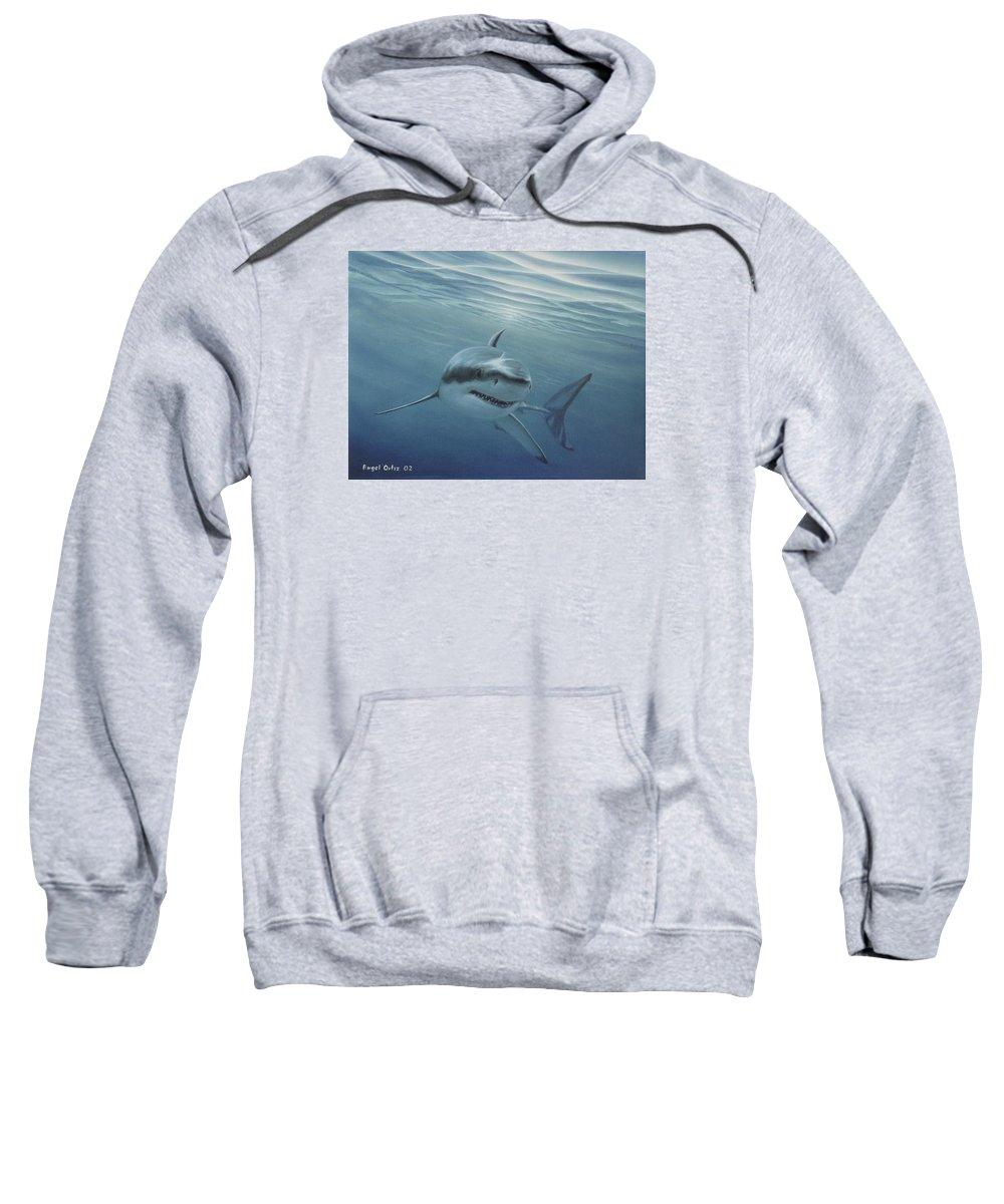 Shark Sweatshirt featuring the painting White Shark by Angel Ortiz