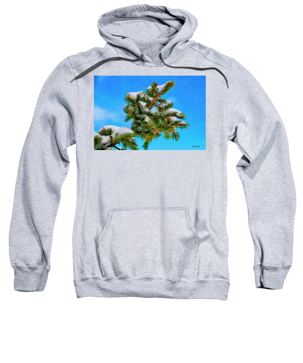 Blue Sweatshirt featuring the painting White Snow On Evergreen by Jeffrey Kolker