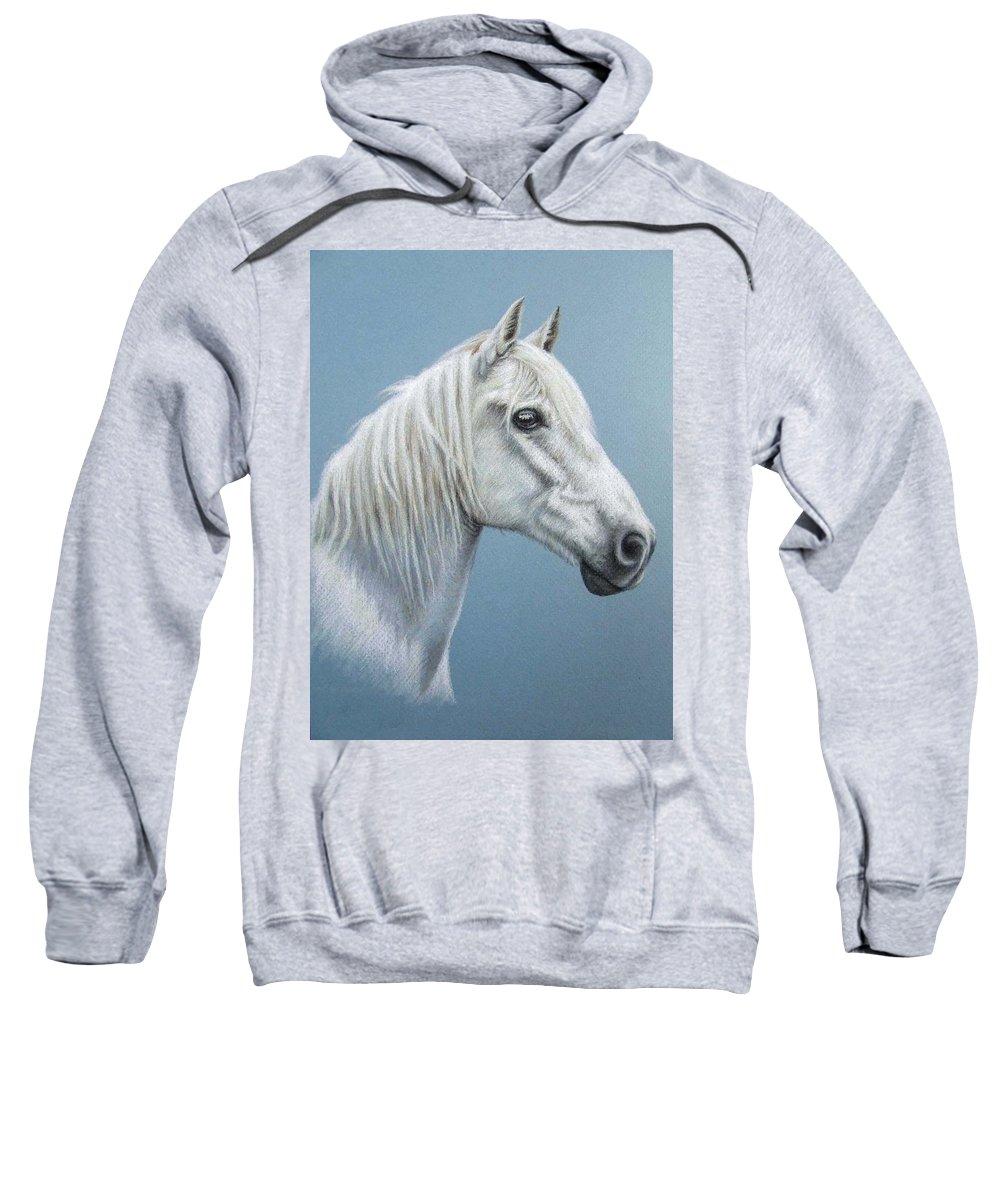 Horse Stallion White Pferd Portrait Animal Realism Pastel Sweatshirt featuring the pastel White Stallion by Nicole Zeug