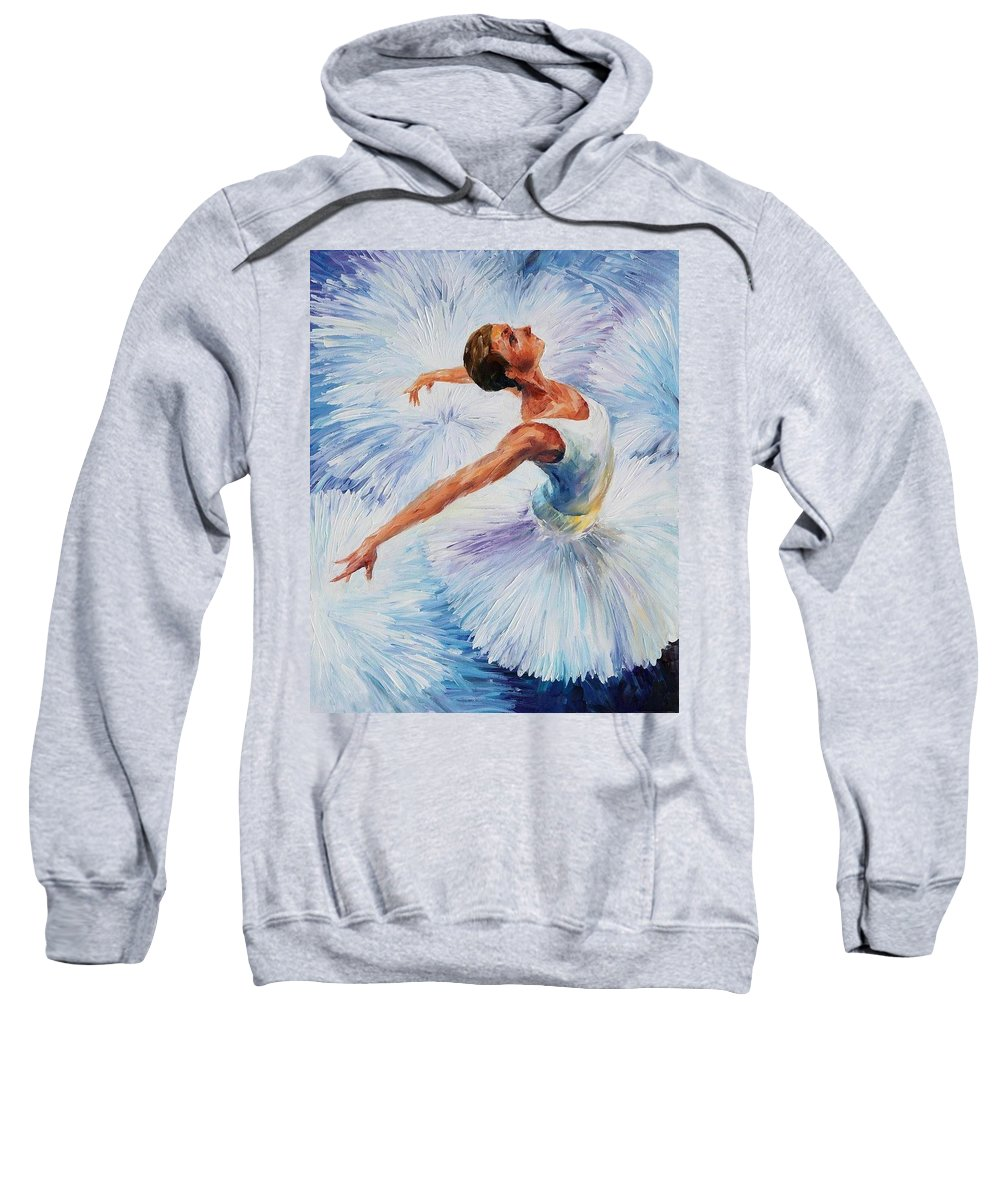 Afremov Sweatshirt featuring the painting White Swan by Leonid Afremov