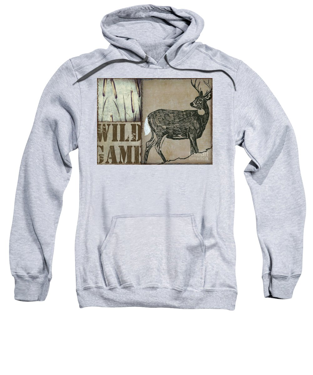 Wild Deer Sweatshirt featuring the painting White Tail Deer Wild Game Rustic Cabin by Mindy Sommers