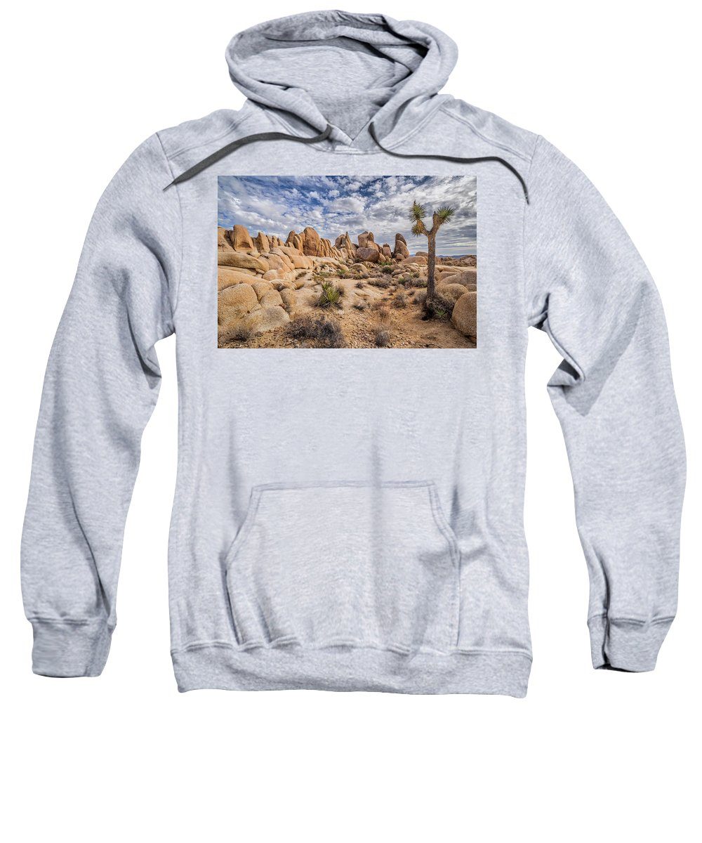 California Sweatshirt featuring the photograph White Tank Rocks by Peter Tellone