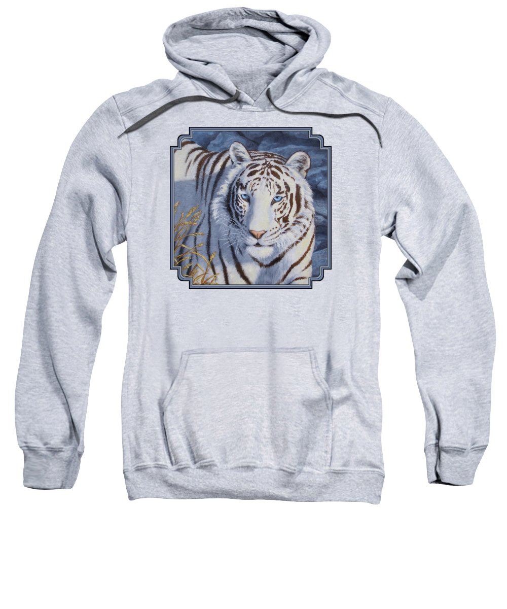 Cat Sweatshirt featuring the painting White Tiger - Crystal Eyes by Crista Forest