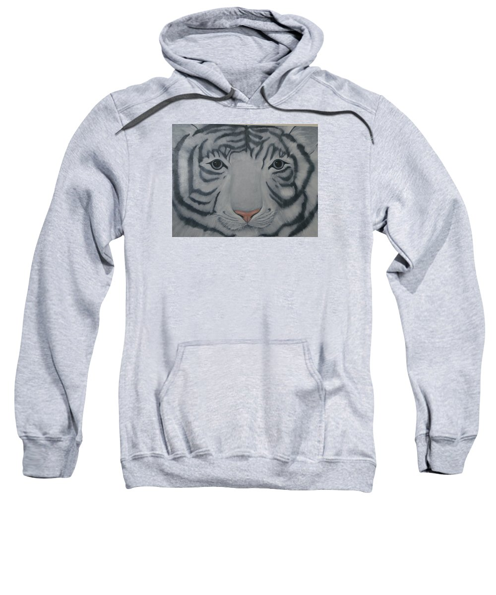 White Tiger Sweatshirt featuring the painting White Tiger by Toni Berry