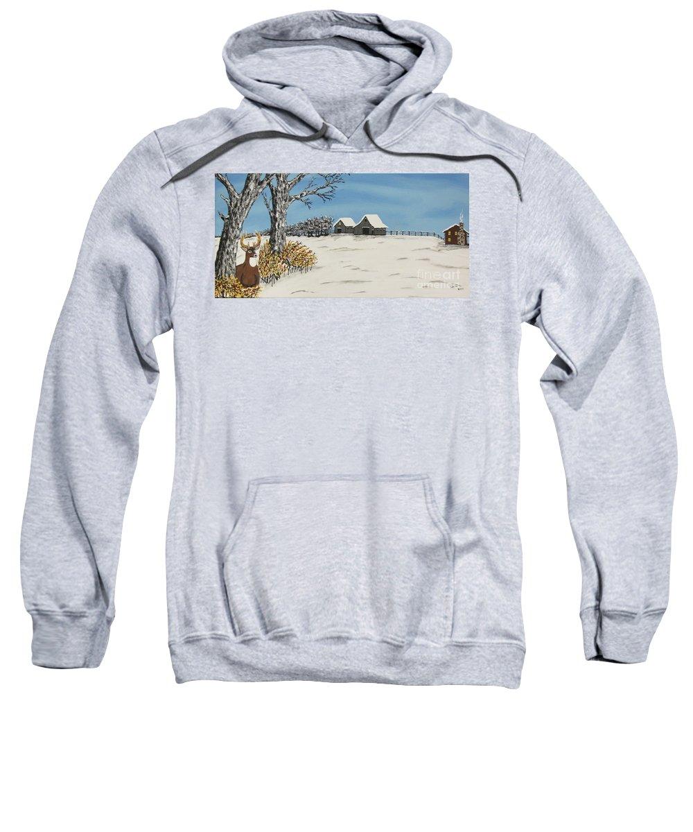 Winter Deer Sweatshirt featuring the painting Winter Deer Lookout by Jeffrey Koss