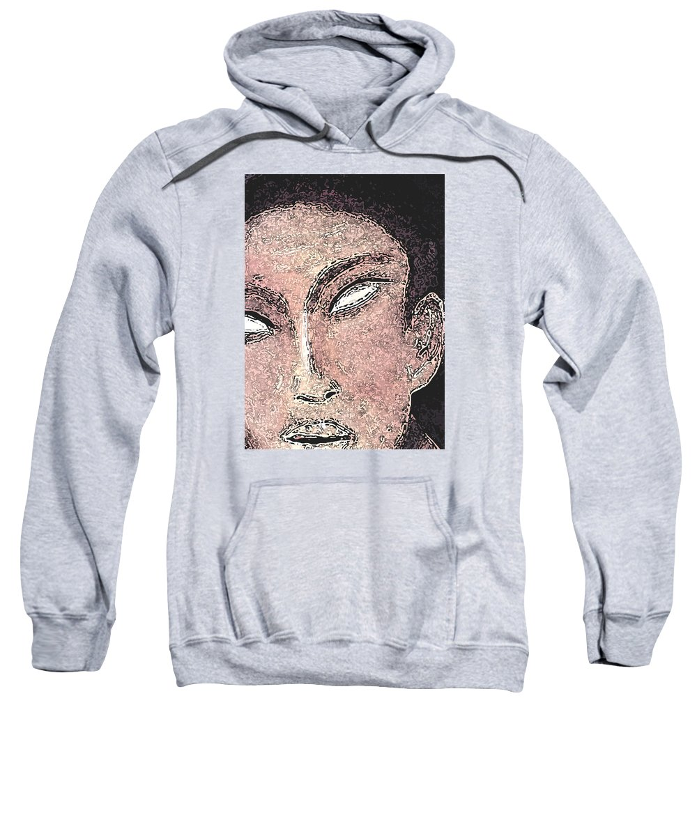 Faces Sweatshirt featuring the mixed media Whiteyes by Jorge Delara