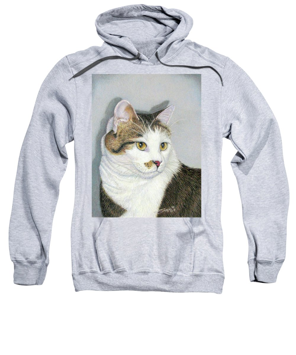 Pet Portraits Sweatshirt featuring the drawing Who Me by Beverly Fuqua