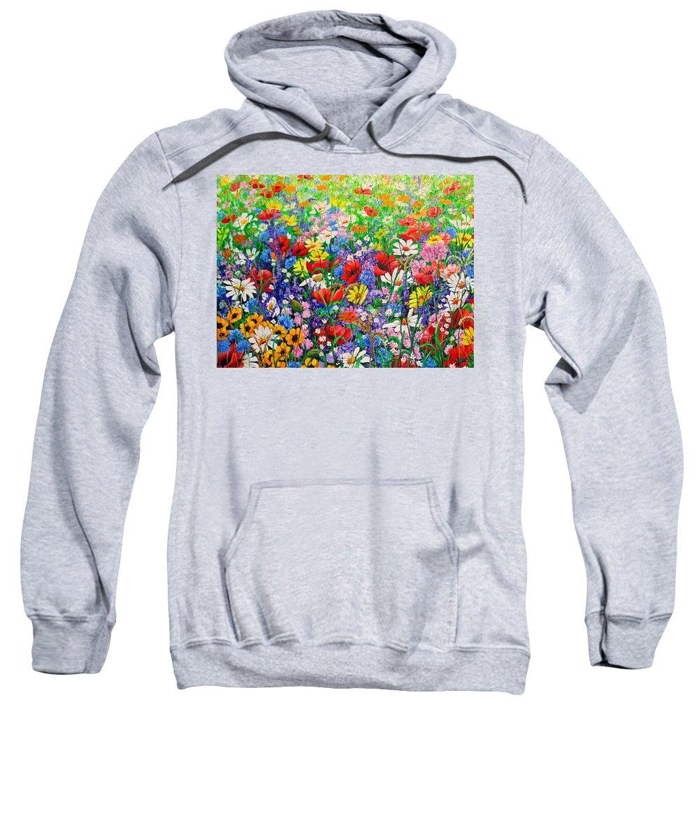 Wild Flowers Sweatshirt featuring the painting Wild Flower Meadow by Karin Dawn Kelshall- Best