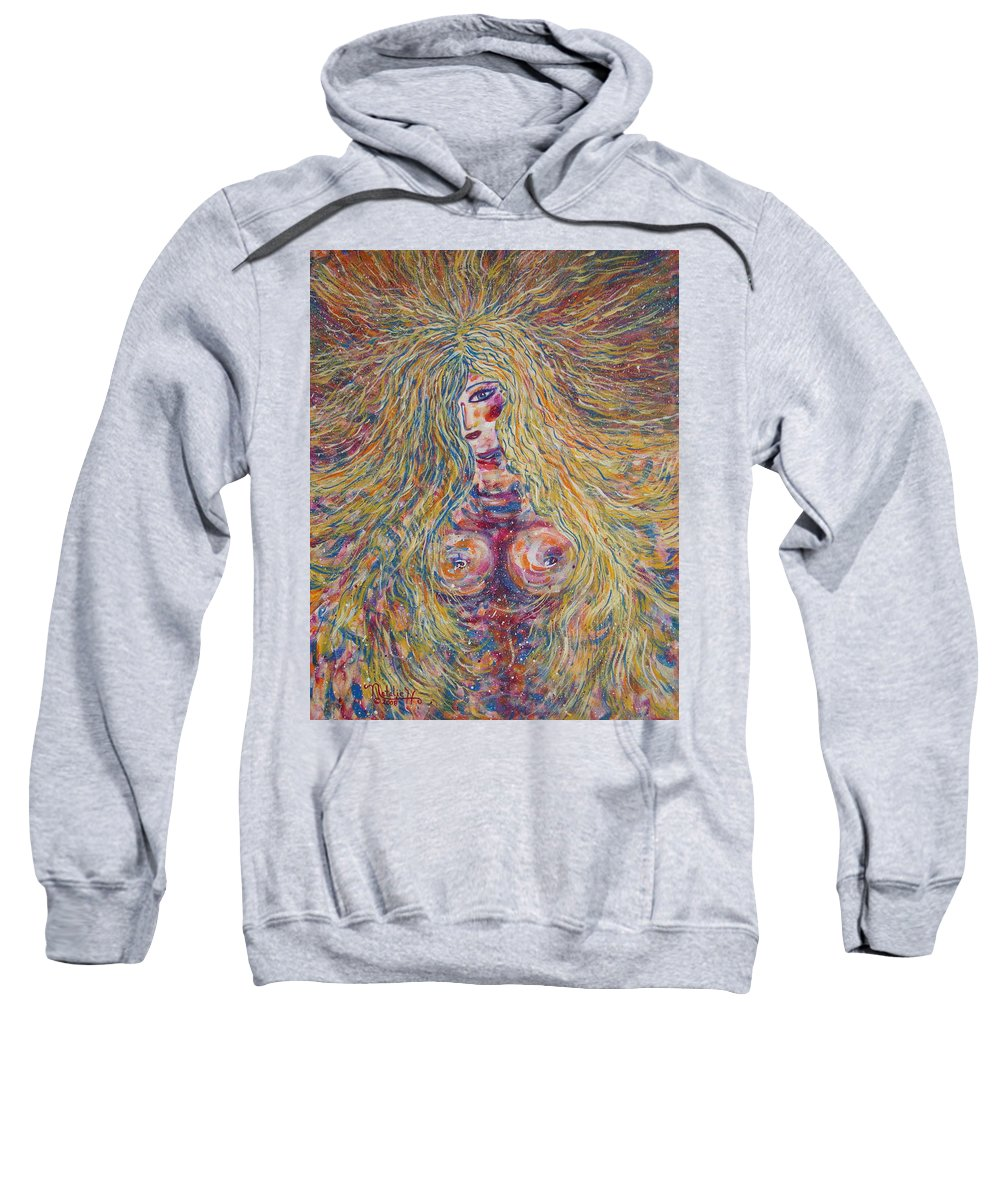 Nude Sweatshirt featuring the painting Wild Passion by Natalie Holland