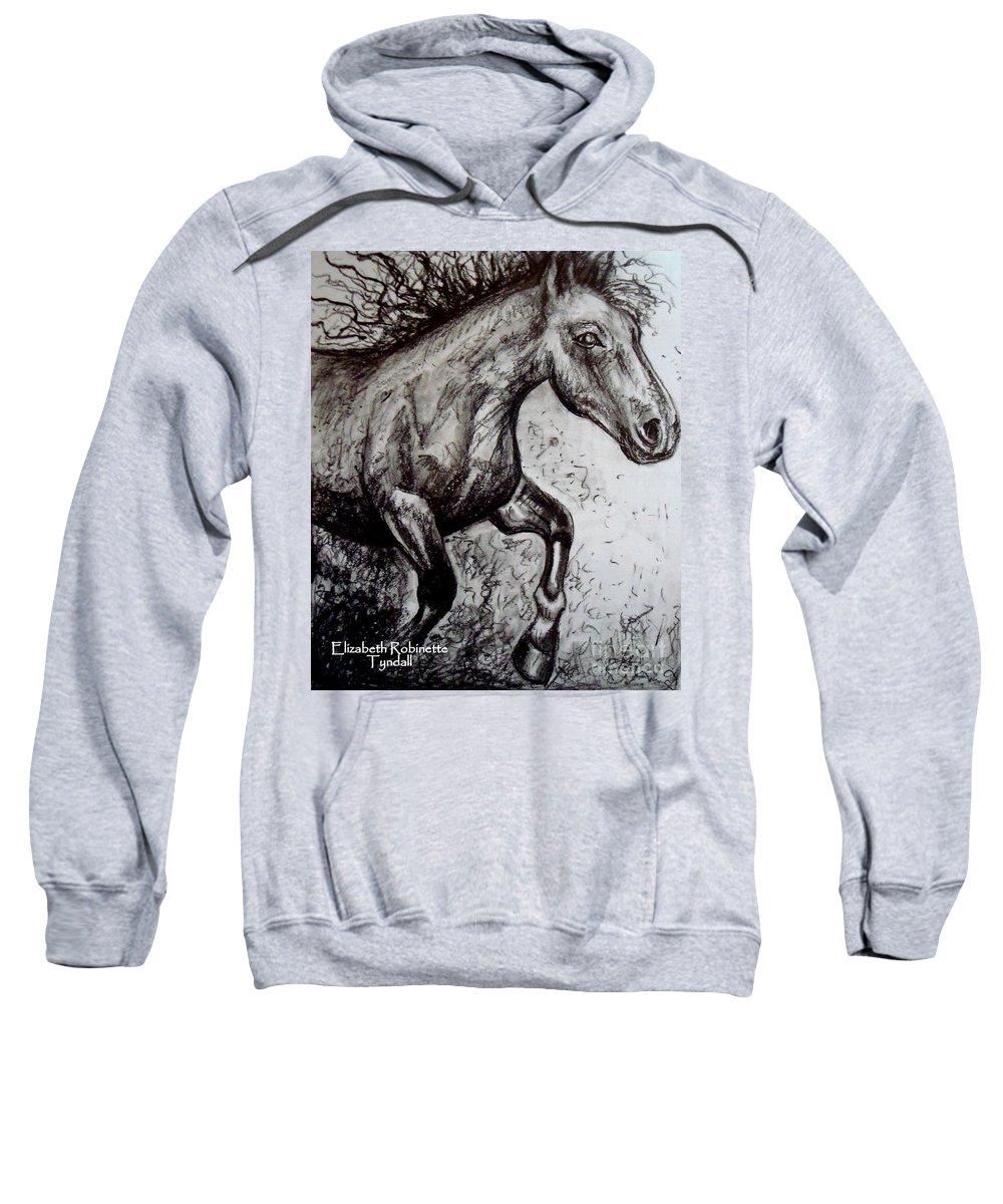 Horse Sweatshirt featuring the painting Wild Stallion by Elizabeth Robinette Tyndall