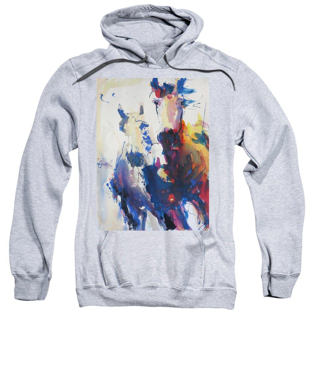 Horse Sweatshirt featuring the painting Wild Wild Horses by Robert Joyner