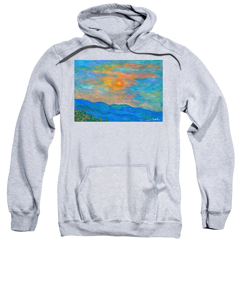 Landscape Sweatshirt featuring the painting Wildflowers By A Blue Ridge Sunset by Kendall Kessler