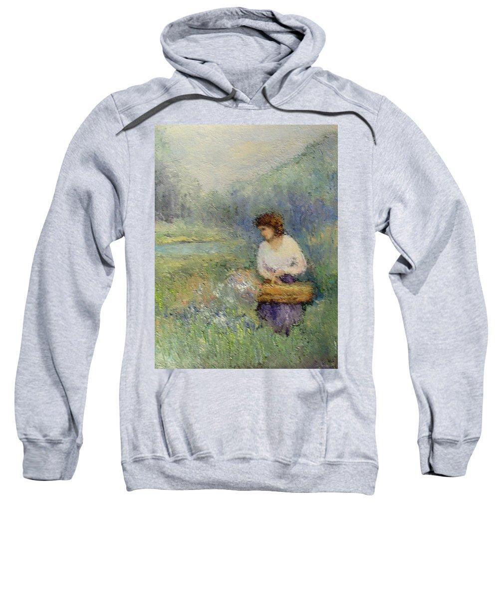 Woman Sweatshirt featuring the painting Wildflowers by Gail Kirtz