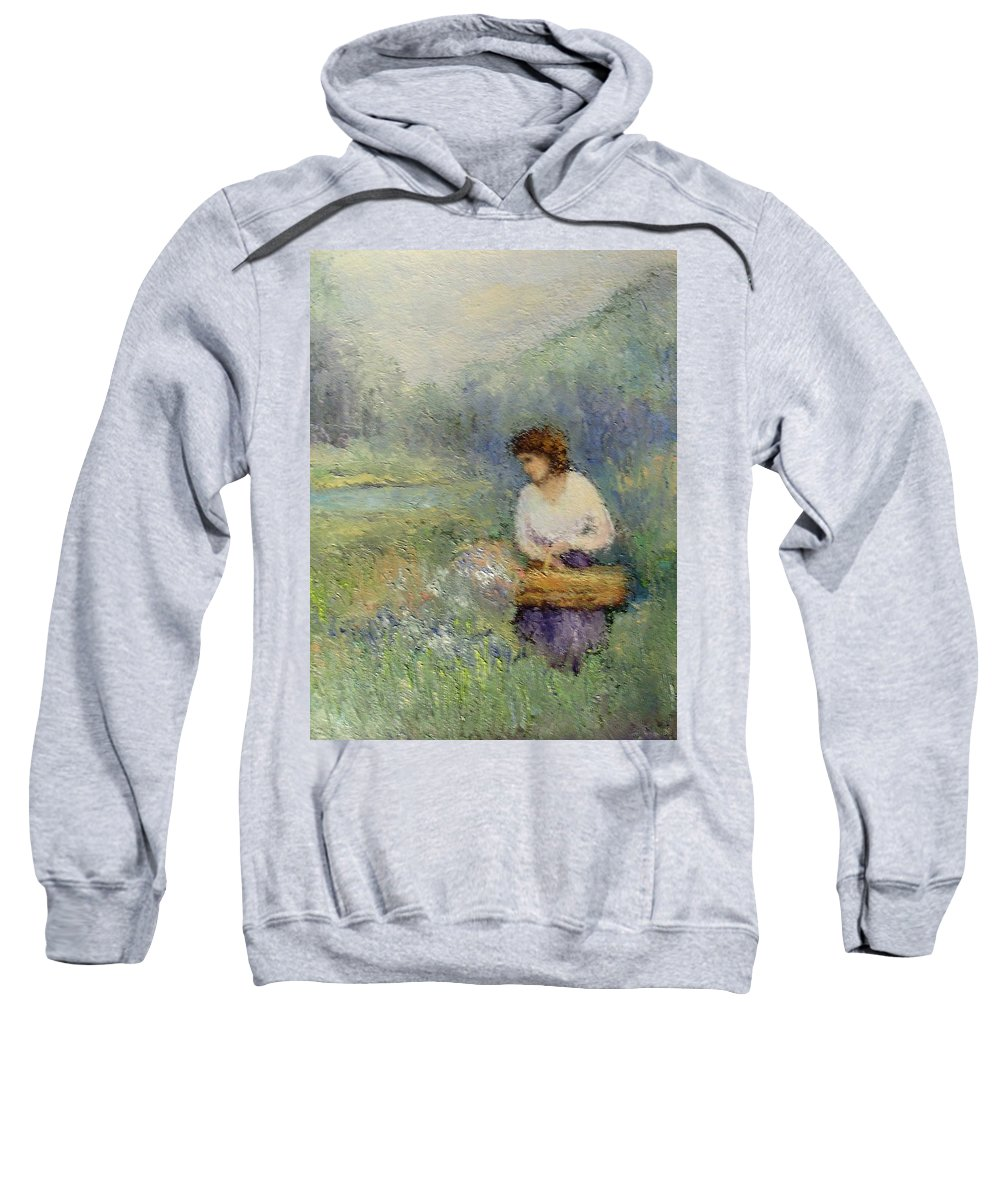 Woman Sweatshirt featuring the painting Wildflowers by Gail Kirtz