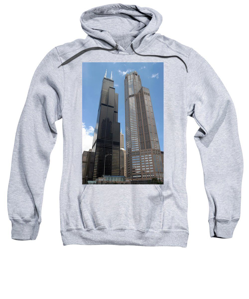 3scape Sweatshirt featuring the photograph Willis Tower Aka Sears Tower And 311 South Wacker Drive by Adam Romanowicz