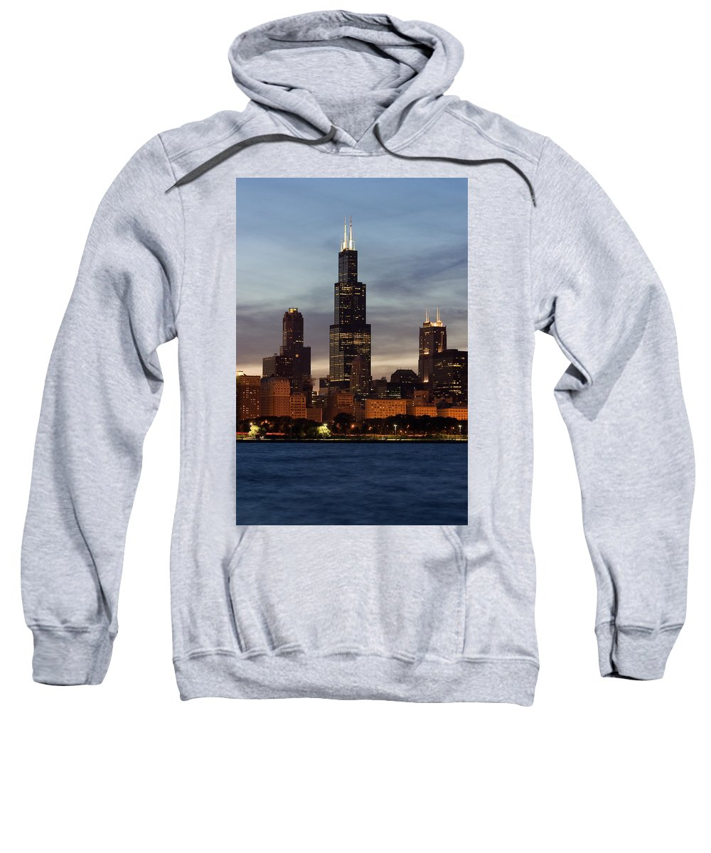 3scape Photos Sweatshirt featuring the photograph Willis Tower At Dusk Aka Sears Tower by Adam Romanowicz