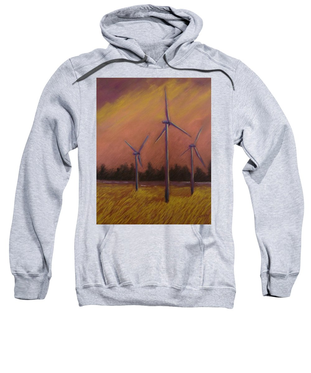 Wind Turbine Sweatshirt featuring the pastel Wind And Wheat by Pat Snook