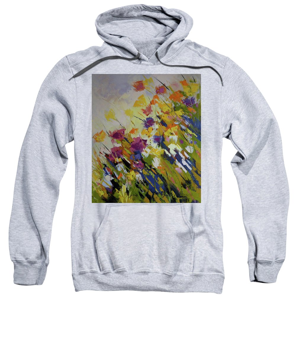 Flowers Sweatshirt featuring the painting Wind Blown by Yvonne Ankerman