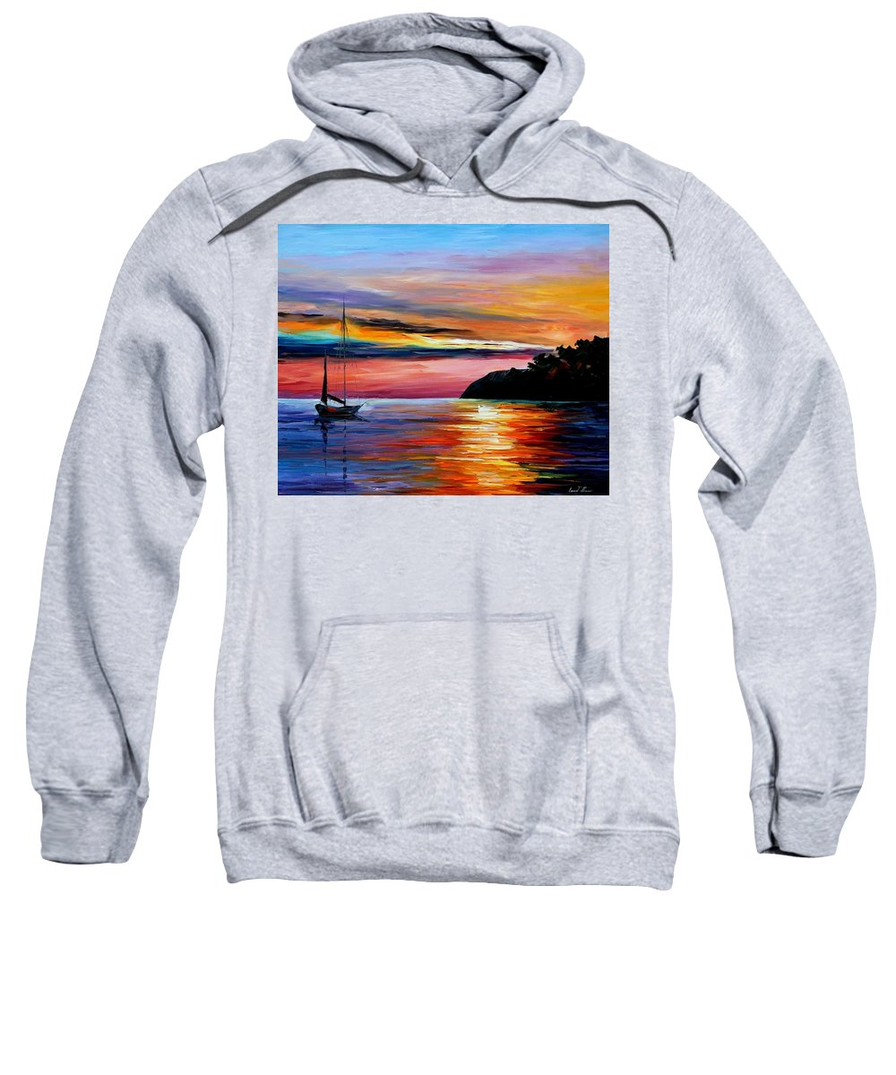 Afremov Sweatshirt featuring the painting Wind Of Hope by Leonid Afremov